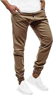 comprar comparacion Subfamily Pantalones Casuales Deportivos de Color Sólido con Bolsillo con Cordón para Hombres, Casual Fitness Bodybuilding...