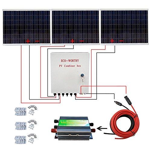 ECO-WORTHY Kit de panel solar de 500 W, 3 piezas 180 W con panel solar policristalino + controlador de cargador solar de 30 A + caja de combinación FV + cable solar + soportes de zinc