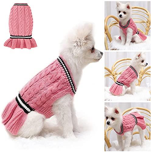 Pet Maglioni Cani Gatti Maglione lavorato a maglia Abbigliamento invernale Cappotti per cuccioli Giacca Abbigliamento Gilet Felpe per cani di taglia media (rosa, M)