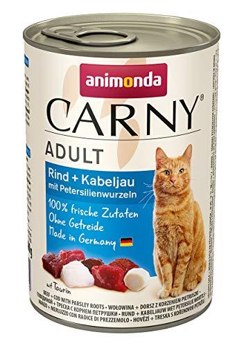 animonda Carny Adult Katzenfutter, Nassfutter für ausgewachsene Katzen, Rind + Kabeljau mit Petersilienwurzeln, 6 x 400 g