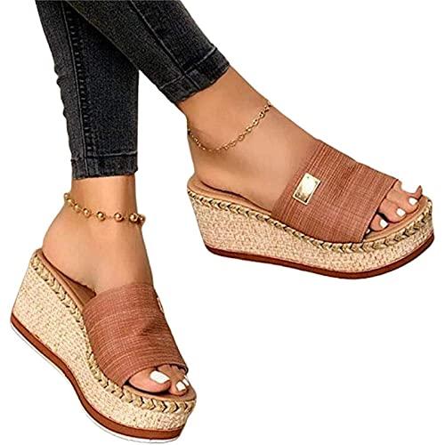 CXYTX Sandalias De Mujer Informales De Verano para Mujer con Punta Abierta Y Tacón Alto, Sandalias con Plataforma, Zapatos Planos, Sandalias De Playa