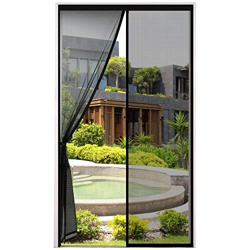 Cinkee Mosquitera Puerta Magnetica Corredera, Cortina Mosquiteras Magnética para Puertas Abatible Balcón Puerta Corredera de Patio, Fácil instalación, Negro, 80x200 cm