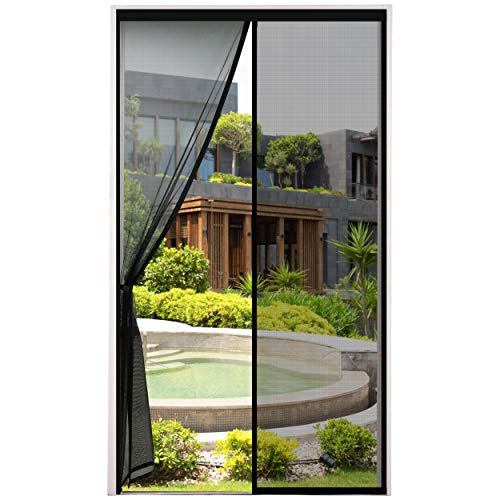 Fliegengitter Tür Moskitonetz Tür Magnet Vorhang Insektenschutz für Balkontür, Kellertür und Terrassentür Kinderleichte Klebemontage Ohne Bohren, Schwarz, 100x220cm