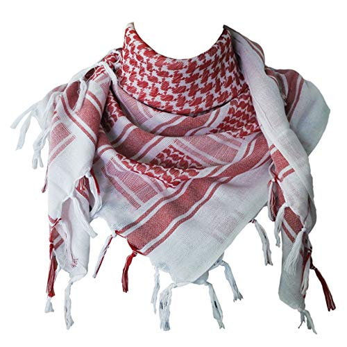 Explore Land Cotton Shemagh Tactical Desert Scarf Wrap (Red and White)