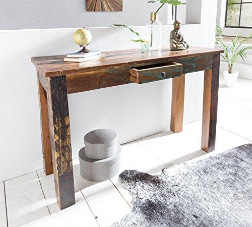 FineBuy Table Console entrées Bois Massif Mangue 120 x 84 x 50 cm Console | Table Console avec tiroir - Capacité de Charge maximale: 50 kg - Table de Bureau Bois recyclé Design Table de Couloir