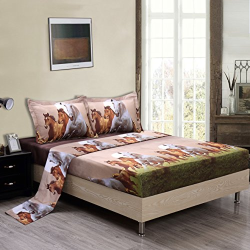 Maii Homelinens 3D Horse Print Microfiber Wrinkle,Fade Resistant Egyptian Cotton Quality Ultra Soft 4-Piece Bed Sheet Set,Flat and Fitted Sheet Pillow Case Queen (3D Horse)