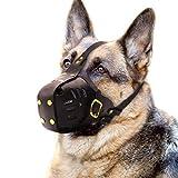 PET ARTIST Genuine Leather Dog Muzzle Adjustable for Medium and Big Dog