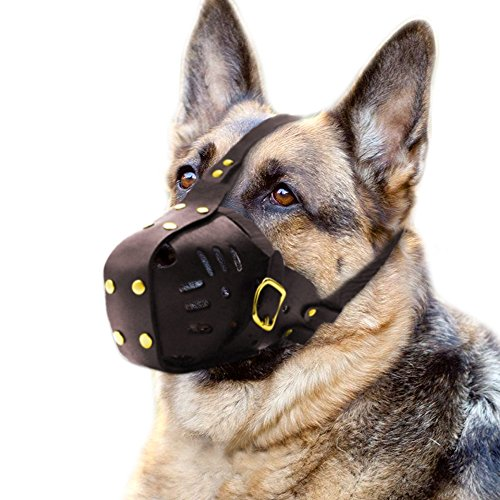 PET ARTIST Genuine Leather Dog Muzzle Adjustable for Medium and Big Dog