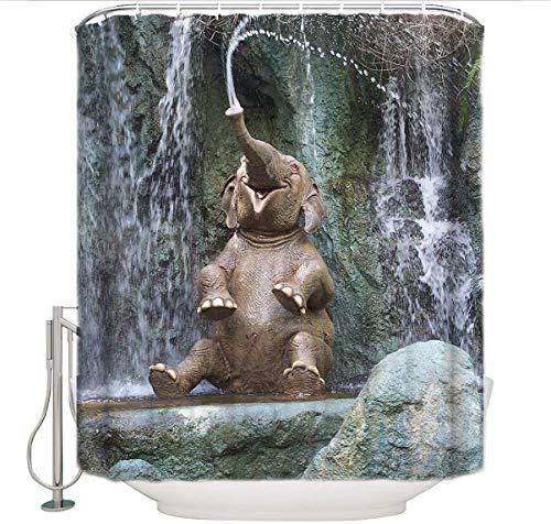 BAIGIO Duschvorhang 180x200cm Wasserdicht Antischimmel Polyester Badezimmer Gardinen mit 12 Haken, 3D Digitaldruck Elefant spielt im Wasser mit Öko-Tex