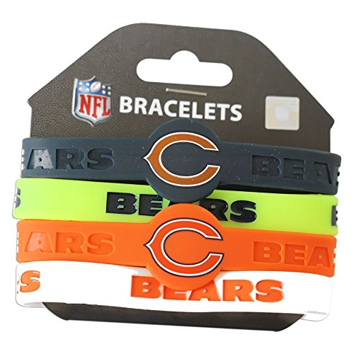 Aminco NFL Chicago Bears Silicone Bracelets, 4-Pack