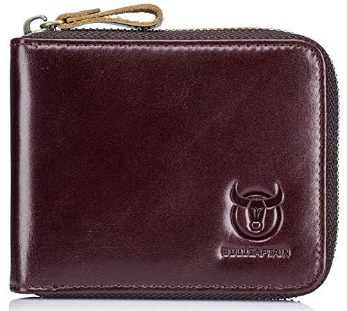 Mens Genuine Leather Zipper Wallet RFID Blocking Bifold Secure Zip Around Wallets Multi Credit Card Holder Purse 1