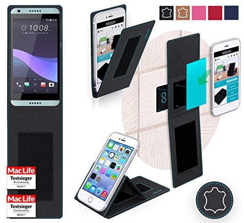 reboon Hülle für HTC Desire 650 Tasche Cover Hülle Bumper | Schwarz Leder | Testsieger