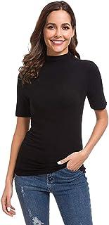 Foowni Womens Summer Short Sleeve Letter Turtleneck Tops Tee Shirt Top Blouse