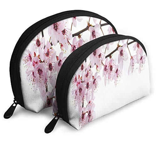 Small Cosmetic Bag Set of 2 Makeup Bag Sakura Blossom Portable Shell Storage Bag for Girls Waterproof Cosmetic Pouch Halloween Gift