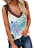 BLENCOT Women's Summer Floral Sleeveless Shirts V Neck Lace Spaghetti Strap Trim Camisole Tank Tops Loose Blouse Green XXL
