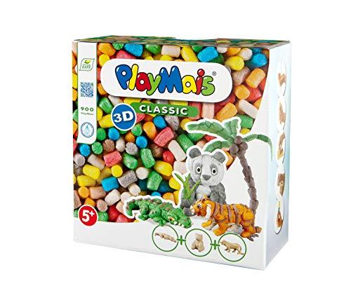 PlayMais 3D Wild Animals Bastel-Set für Kinder ab 5 Jahren   Über 900 3 Tierfiguren aus Pappmaschee zum Bekleben und Basteln   Fördert Kreativität & Feinmotorik   Natürliches Spielzeug