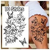 Temporary Tattoos for Women Adults, Butterfly Flower Stickers Fake Semi Permanent Long Lasting Tattoos, Body Leg Makeup Waterproof Realistic Henna Tattoos Kit-45 Styles on 10 Sheets