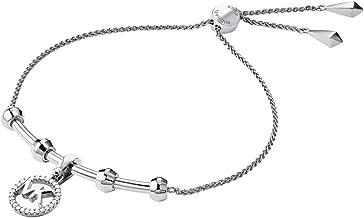 Michael Kors Women's Precious Metal-Plated Sterling Silver Starter Slider Bracelet with Logo Charm