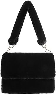 Damen-Handtasche aus weichem Kunstfell, mit Leopardenmuster, Handtaschen aus Plüsch