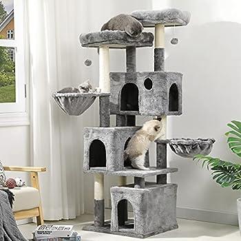 MSmask Arbre à chat pour grands chats, arbre à chat avec 2 plateformes et 3 niches, arbre d'escalade stable (156 cm gris clair)