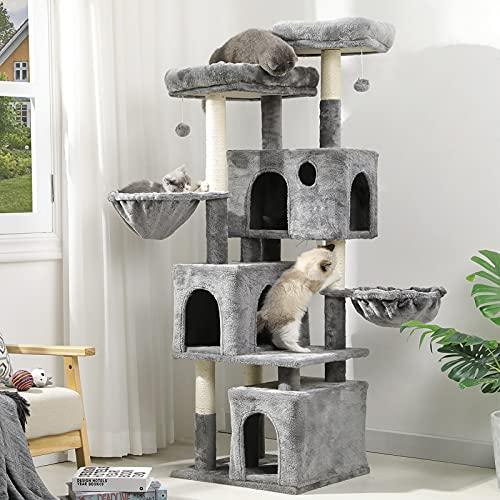 MSmask Kratzbaum für große Katzen, Katzenbaum mit 2 Plattformen und 3 Katzenhöhlen, Stabiler Kletterbaum (156CM Hellgrau)