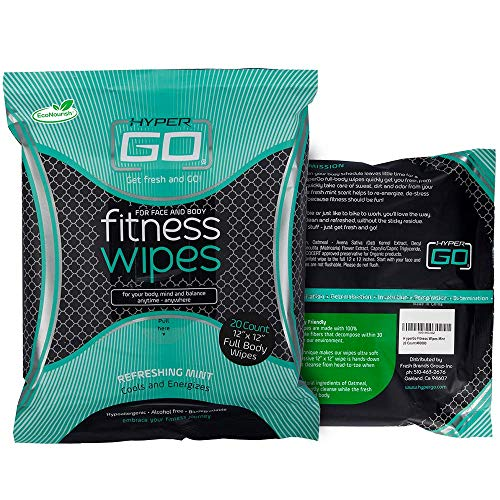 "HyperGo Full Body Wipes, 20-Count (1 Pack) Mint – Cleansing Wipes for Quick Refresh, Large 12"" x 12"" Biodegradable Wipes, All-Natural Ingredients, Bathing Wipes for Fitness, Camping, Hiking & More"