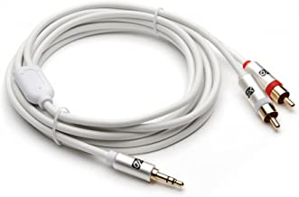 XO 3.5mm Male to 2 x RCA Male Stereo Audio Cable - 3.5 Jack to RCA Male to Male Lead - 24 ft / 7.5m White- Gold plated connectors.