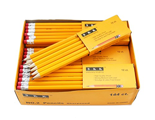 SKKSTATIONERY Pre-sharpened pencils, Pencils Sharpened with eraser top, 2 HB pencil, 144/box.