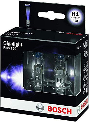 Bosch Lámpara para faros: Plus 120 Gigalight H1 12V 55W P14,5s (Lámpara x2)