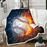 Sviuse Baseball Blanket 3D Print Throw Blanket White Ball in Fire and Water Flannel Soft Plush Sport Throw for Kids Boys All Season Couch Bed Sofa Home Decor