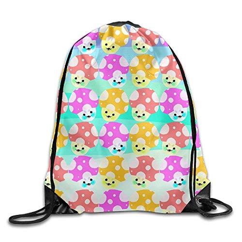 hgdfhfgd Cartoon Colorful Cute Mushroom Smile Drawstring Bag For Traveling Or Shopping Casual Daypacks School Bags Portable 13001