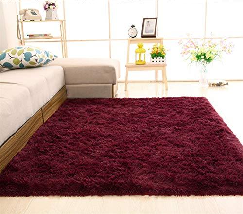 Insun Einfarbig Shaggy Teppich Hochflor Langflor Teppiche Modern für Wohnzimmer Schlafzimmer Weinrot 140x200cm