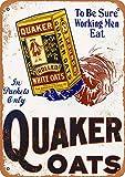 Quaker Rolled White Oats Targa in Metallo retrò Poster da Parete Targa Vintage in Metallo Garage Home Office Bar Coffee Shop Decor 20 × 30 cm