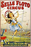 IUBBKI Letrero de metal de aluminio vintage circo – Sells Floto Circus – M'lle Beeson Retro 11.8 x 7.8 pulgadas