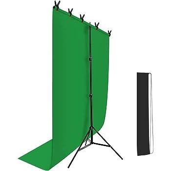 Hemmotop T字型 背景スタンド 150 x 200cm Zoomのバーチャル背景 クロマキー スクリーンと万能クリップ5個付き 撮影スタンド 背景サポート 82-192cm 高さ調整可能 背景布ブラケット 持ち運び便利 三脚 バックグラウンド 写真撮影用 父の日ギフト