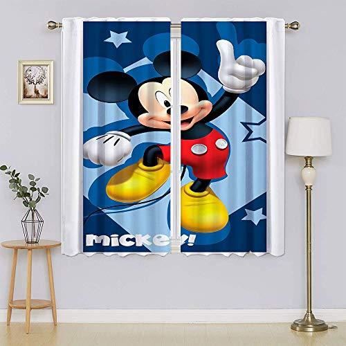 Mickey-Mouse - Cortinas opacas para puerta de patio, cortinas para mantener el calor, cortinas para ventanas para dormitorio, 132 x 163 cm
