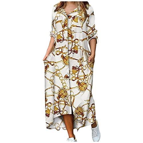 Maxi vestido casual para mujer, vestido largo largo con botones florales y bolsillos