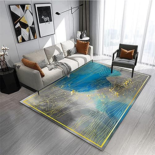 Suelo Exterior Terraza Alfombras Lavables Salon Carpeta Azul Gris de Dormitorio, diseño...