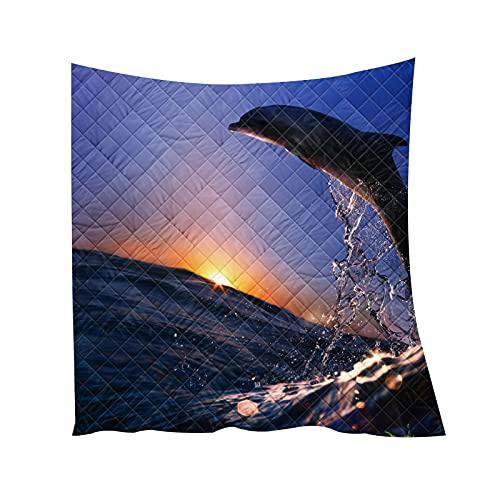 Chickwin Colcha Acolchada Verano, 3D Oceano Delfín Impresión Colchas Cubrecama Microfibra Suave Colcha Ligero Manta para Cama Individual Matrimonio o Infantil (Salida del Sol,180x200cm)