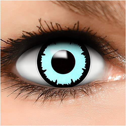 Farbige Kontaktlinsen Blue Angel in blau + Behälter - Top Linsenfinder Markenqualität, 1Paar (2 Stück)