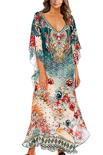 L-Peach Damen Sommer Langes Kleid Strandkleid Pareos Bikini Cover Ups