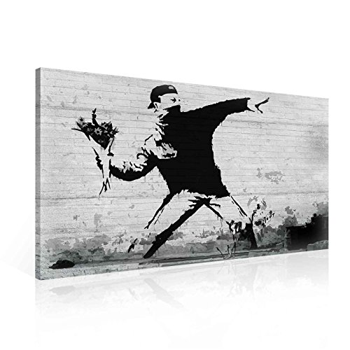 Wallsticker Warehouse Banksy Rage Flower Thrower Leinwand Bilder (PP2085O1FW) Size O1-100cm x 75cm - 230g/m2 Canvas - 1 Piece