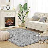 HOHUQ Modern Fluffy Area Rug Shaggy Bedroom Living Room Soft Rugs Shag Fur Carpets for Kids Nursery Room Plush Furry Rug Accent Home Decor, 4 x 5.3 Feet, Grey