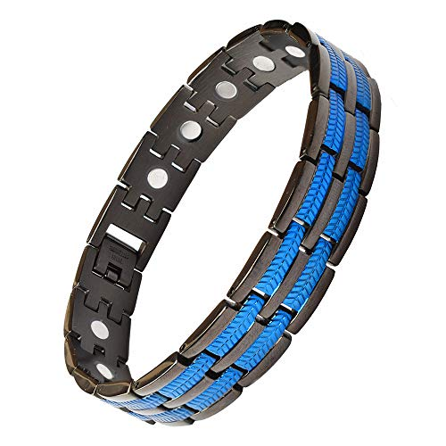 Saifei Magnetic Bracelets For Men Pain Relief For Arthritis Titanium Steel Therapy Bracelets Strong Magnets Bracelet With Blue Line 9 Inch, Adjustable