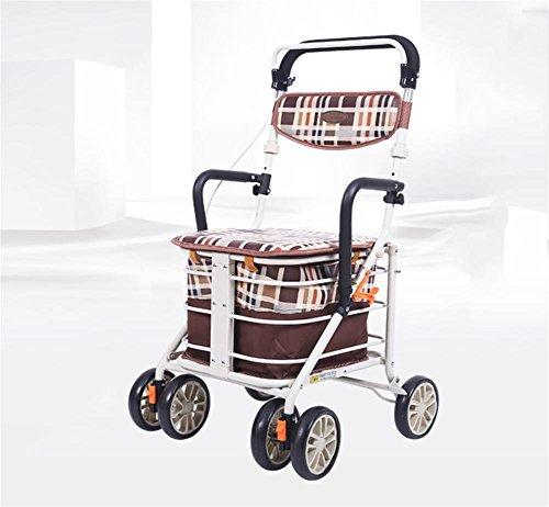 MEYLEE 001H-3 De lujo de lujo para los ancianos Walk & Rest plegable de 4 ruedas Shopping Trolley con asiento y freno de seguridad - Altura ajustable