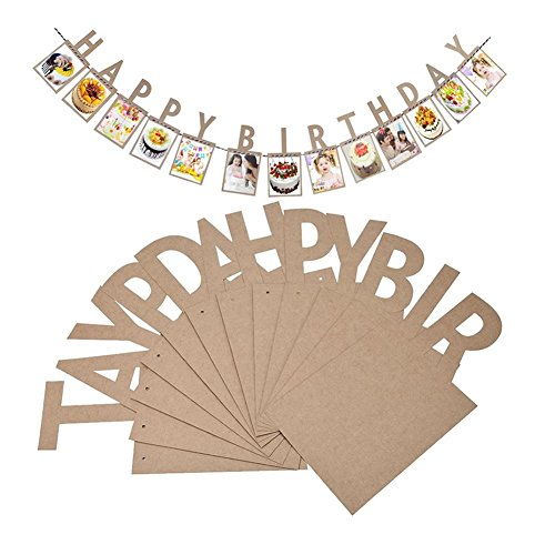Veewon Happy Birthday Bunting Banner Vintage Photo Frame Picture Album Photo Banners Garland Favor Decorations