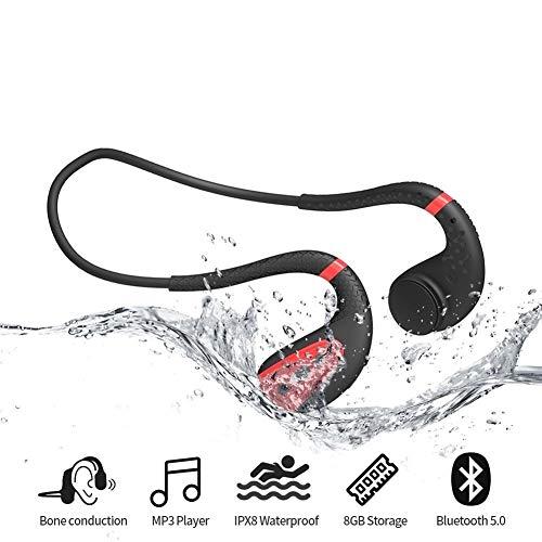 KAIXIN MP3-Player, wasserdichte Kopfhörer zum Schwimmen mp3 IPX8 wasserdicht / 8G Speicher/Bluetooth-Wiedergabe for Laufen/Radfahren/Training/Jogging/Tauchen Wasser