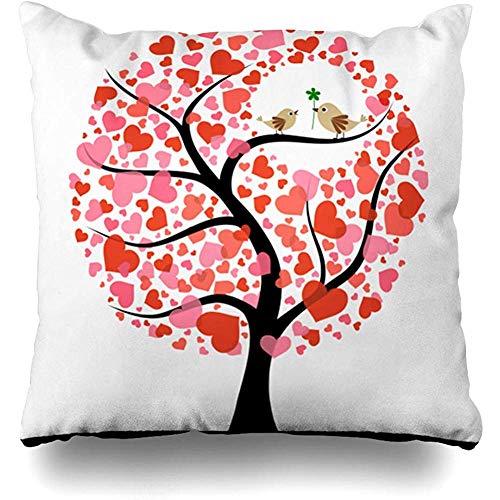 Moily Fayshow Throw Pillow Cover Funda Cuadrada 40X40 Cm Árbol Pájaros Rojos Amor Amistad Pareja Boda Flor Corazón Diseño Decoración para el hogar Funda de Almohada