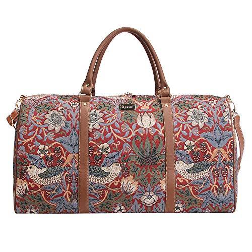 Tapisserie Siganre Grand Sac De Voyage Femme, Bagage à Main, Weekender, Grand Gym Bag avec la Conception de William Morris (Strawberry Thief Red)