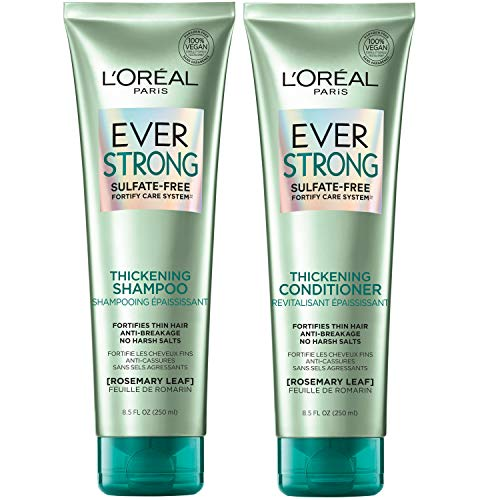 LOreal Paris Hair Care EverStrong Thickening Sulfate Free Shampoo and Conditioner Kit, Thickens + Strengthens, For Thin, Fragile Hair, with Rosemary Leaf, Combo (8.5 Fl; Oz each) (Packaging May Vary)